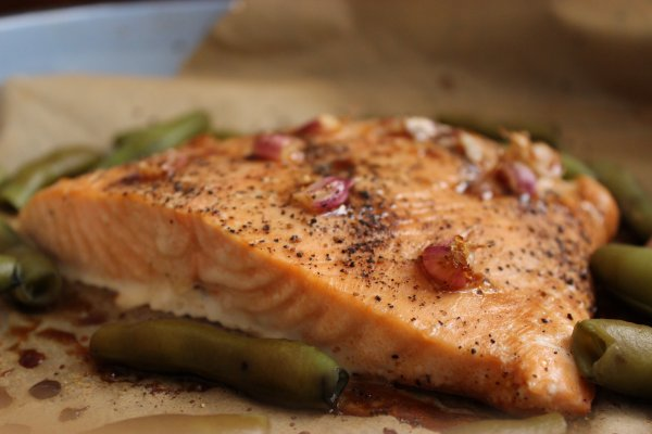 roasted salmon with broad beans