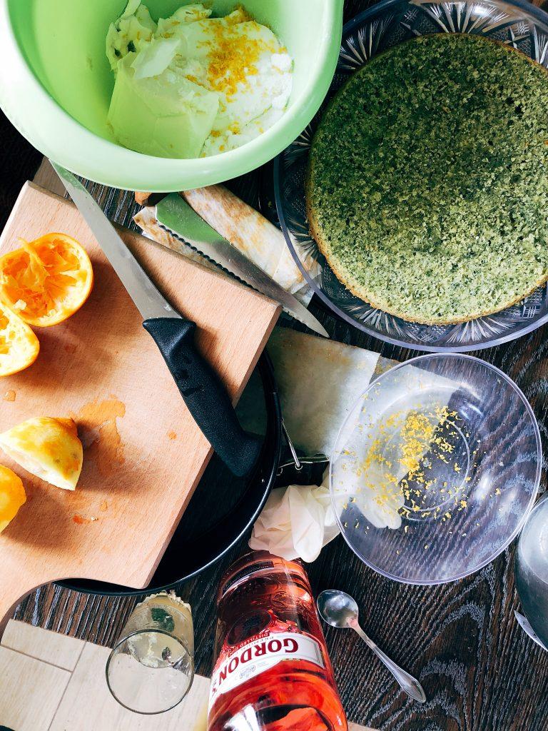 nettle cake with lemons