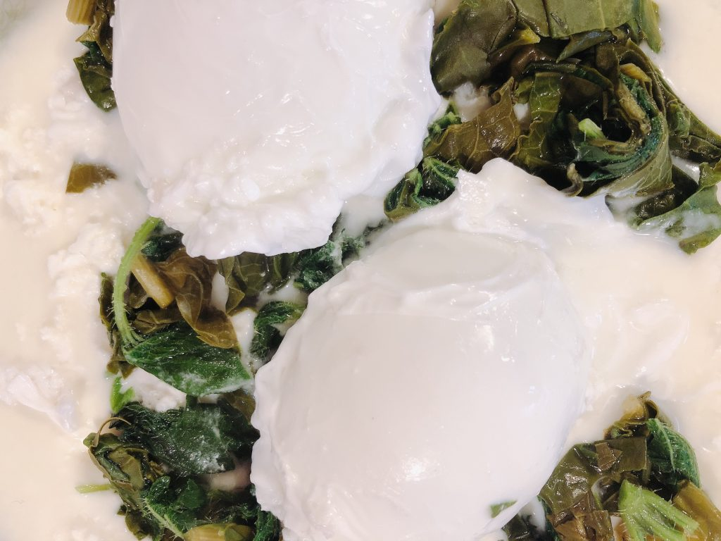 poached eggs and nettles