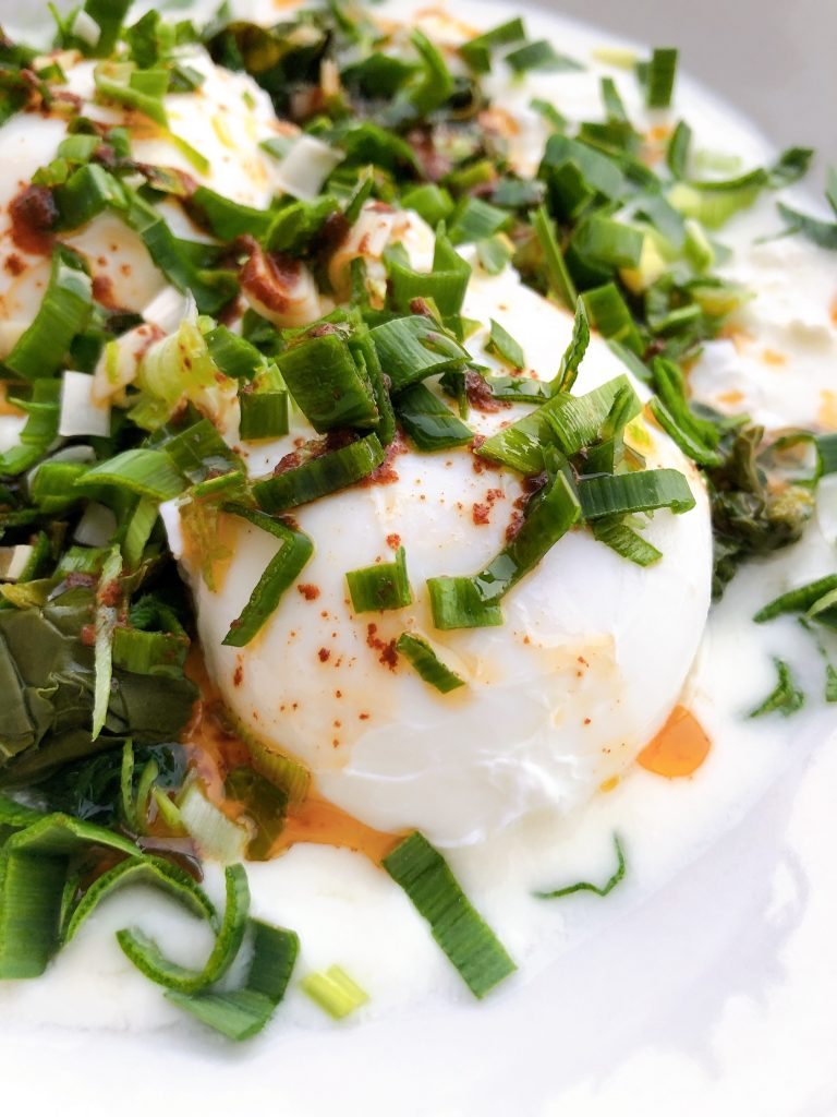 yogurt and poached egg