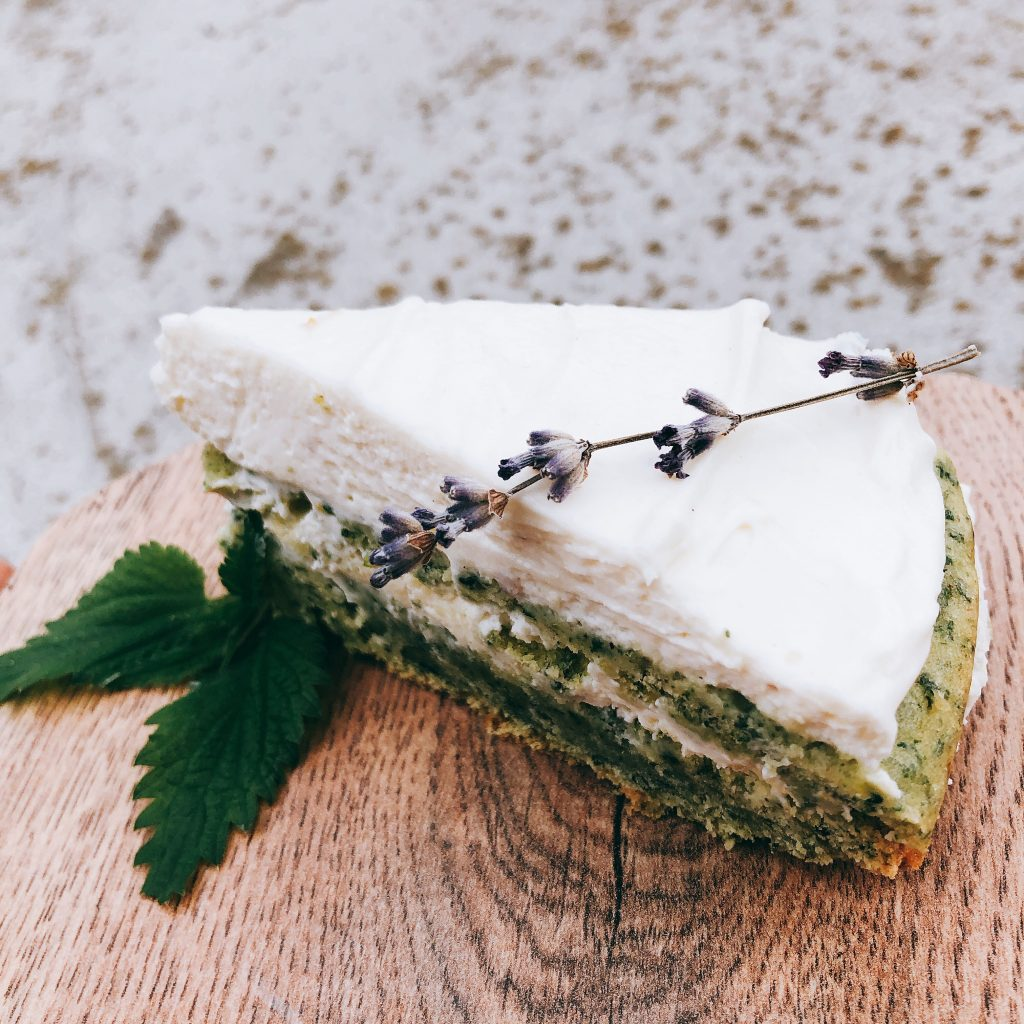stinging nettle cake with lavender